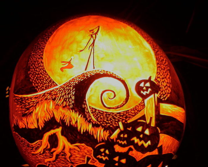 easy pumpkin carving, nightmare before christmas, jack skellington poster, easy pumpkin carving, lit by a candle
