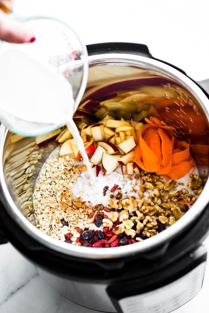 meal prep recipes, chopped apples, nuts and dried berries, oatmeal and milk, in an instant pot