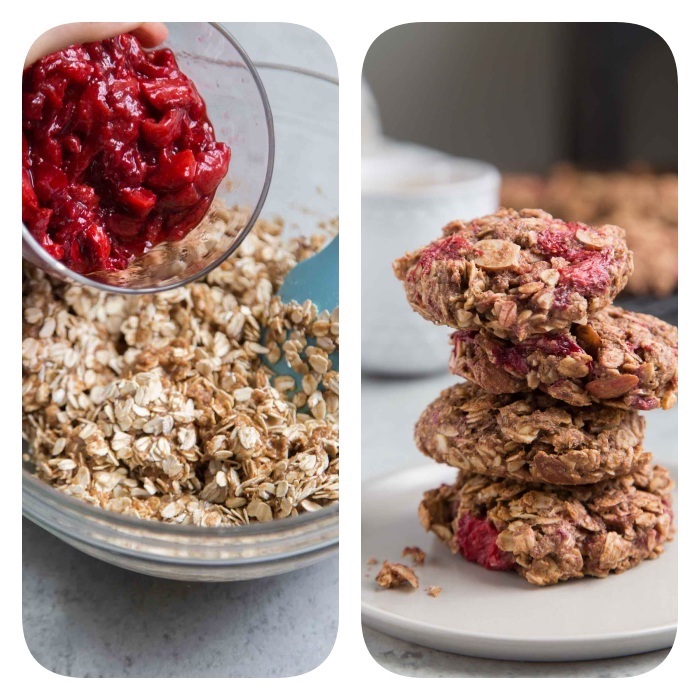 side by side photos, homemade chocolate chip cookies, cherries in a glass bowl, oatmeal cookies