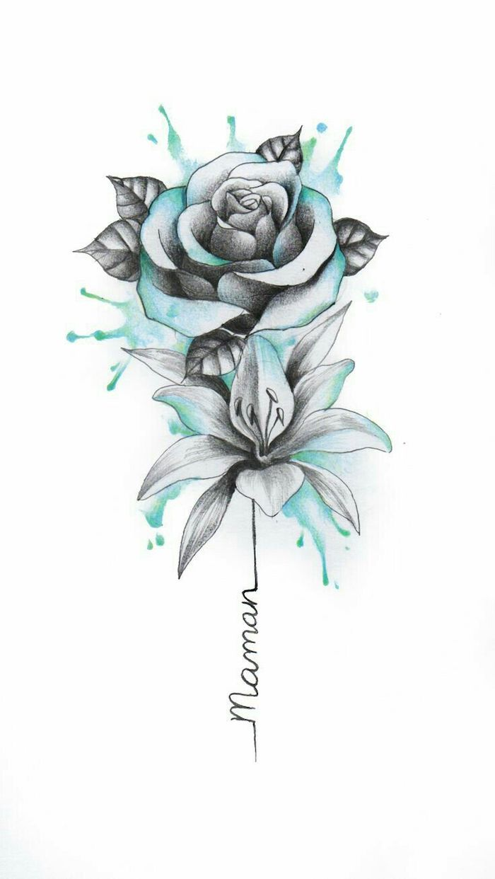 watercolor painting, rose and orchid, in blue and black, on white background, how to draw a flower step by step