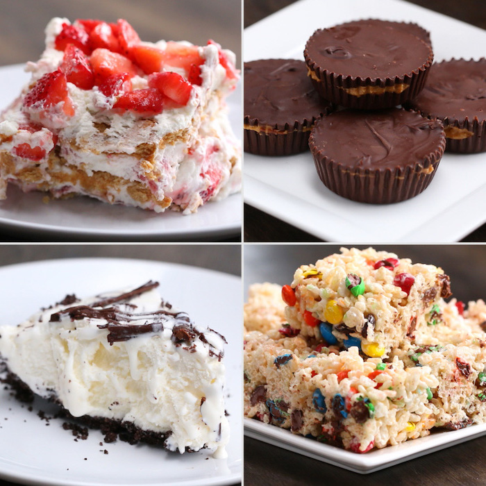 photo collage, strawberry cheesecake, reeses pieces, granola bars, summer dessert recipes