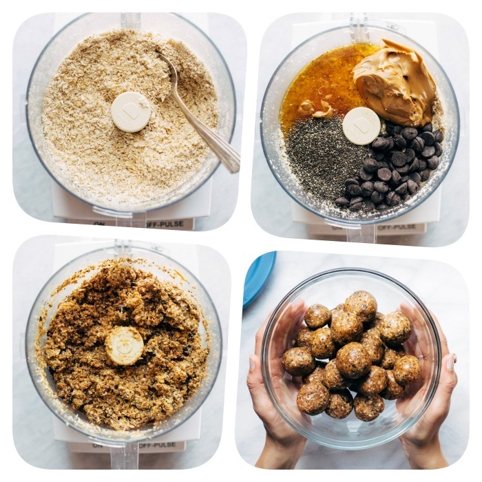 how to make chocolate chip cookies, photo collage, ingredients in a blender, chia seeds, peanut butter, chocolate chips