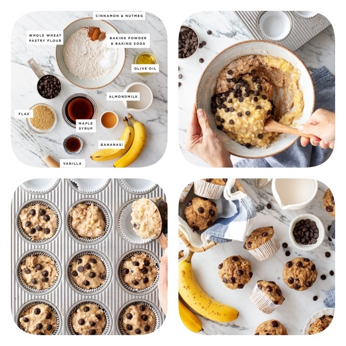 photo collage, ingredients for cookies, tasty chocolate chip cookie, step by step, diy tutorial, cookie dough muffins