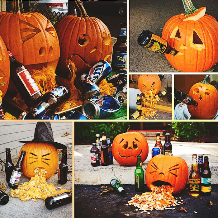 photo collage, drunk pumpkins, vomiting, with alcohol bottles, scary pumpkin carvings