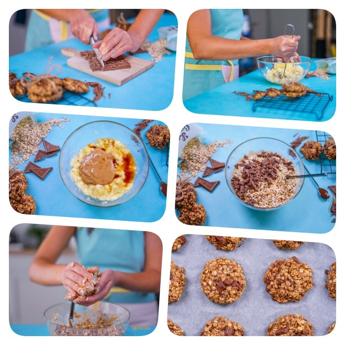 photo collage, chewy chocolate chip cookies, step by step, diy tutorial, oatmeal cookies, blue table