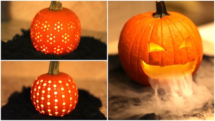 three different pumpkins, scary pumpkin carvings, smoke coming out of one, photo collage, lit by candles