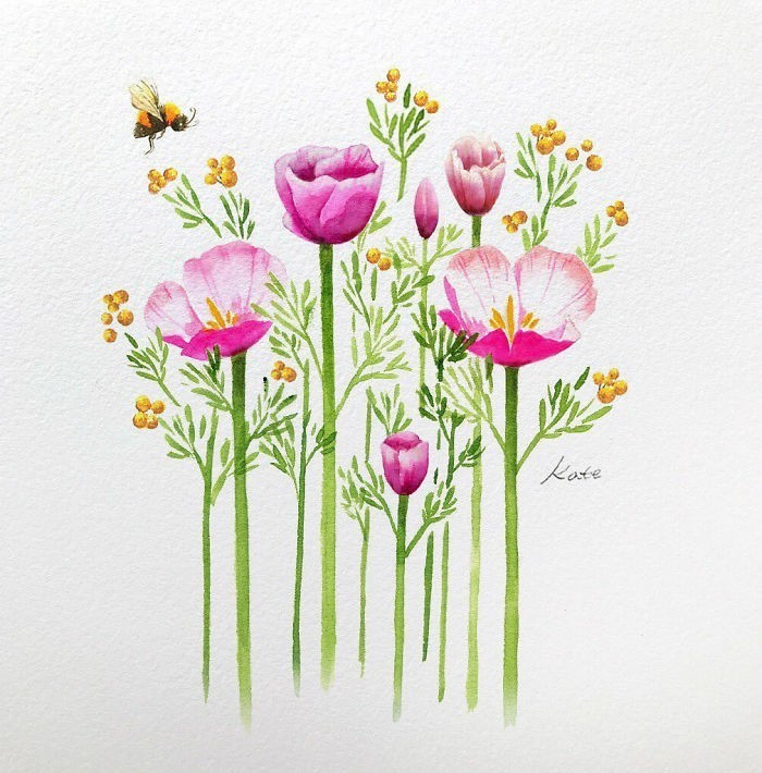 pink and yellow flowers, bee flying in the air, rose drawing easy, white background, watercolor painting