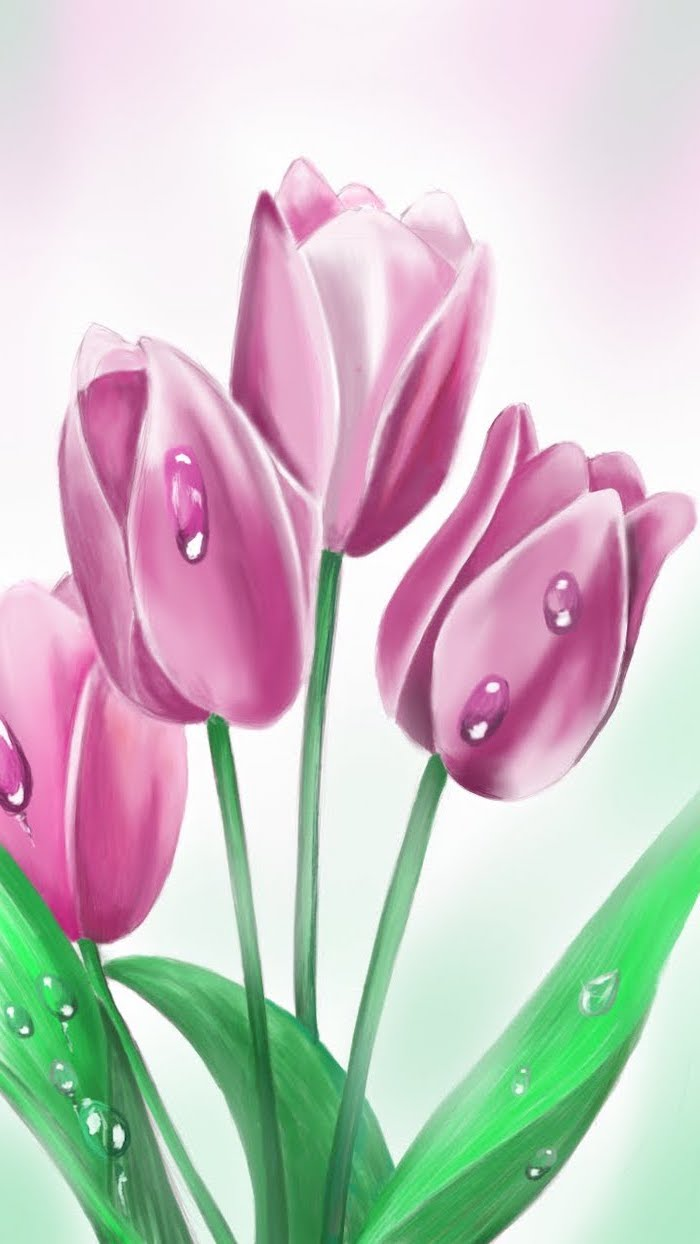 four pink tulips, how to draw a flower step by step, colored painting, pink background