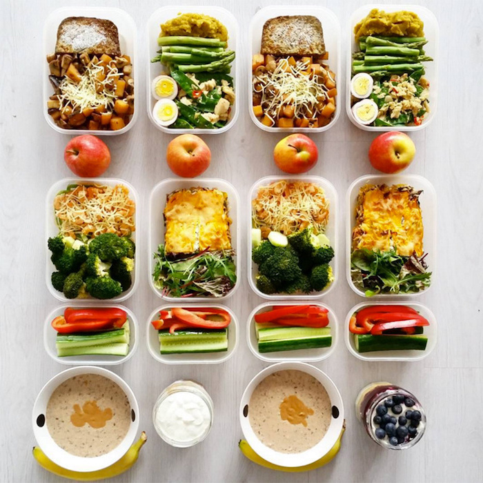 different meals, inside plastic containers, healthy meal prep ideas for the week, sliced vegetables, granola and yoghurt