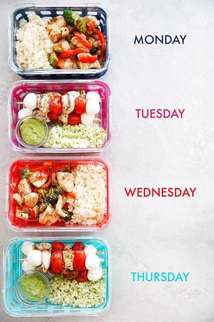 meal for each day of the week, healthy meal prep ideas for the week, white background, plastic containers