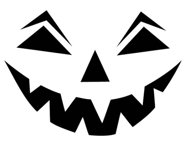 black and white sketch, stencil template, jack o lantern ideas, scary face