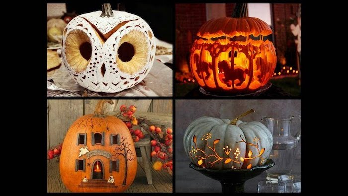 unique pumpkin carving ideas, photo collage, four different pumpkins, carved in a creative way
