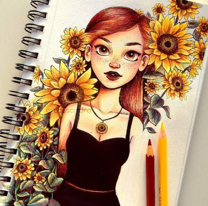 girl with red hair, black top, surrounded by sunflowers, pictures of flowers to draw, colored painting