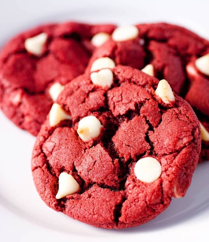 red velvet cookies, white chocolate chips, chocolate chunk cookies, white background