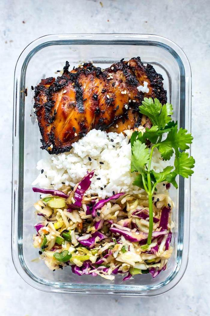 glass container, meal prep recipes chicken, rice and parsley, cabbage salad, sesame seeds
