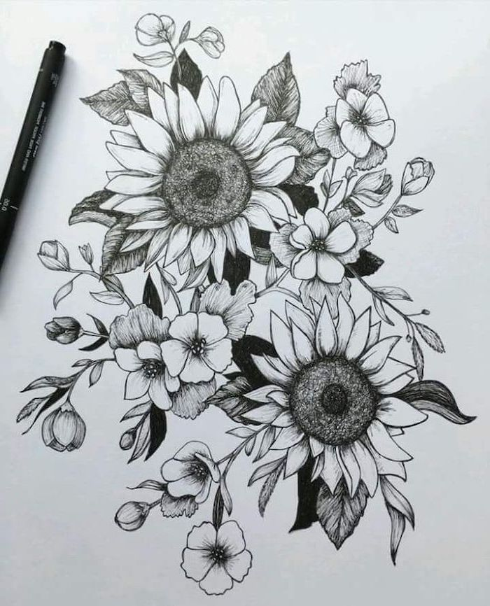 a bunch of flowers, two sunflowers, pictures of flowers to draw, black pencil sketch, white background