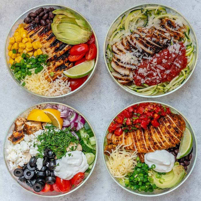 meal prep recipes chicken, four glass bowls, filled with different meals, chicken fillet, chopped vegetables