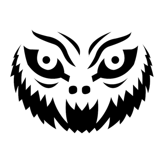 funny pumpkin carving, scary face, stencil template, black and white sketch