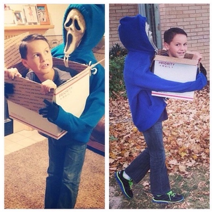 side by side photos, beheaded teenager, carried around in a box, twin halloween costumes, blue hoodie