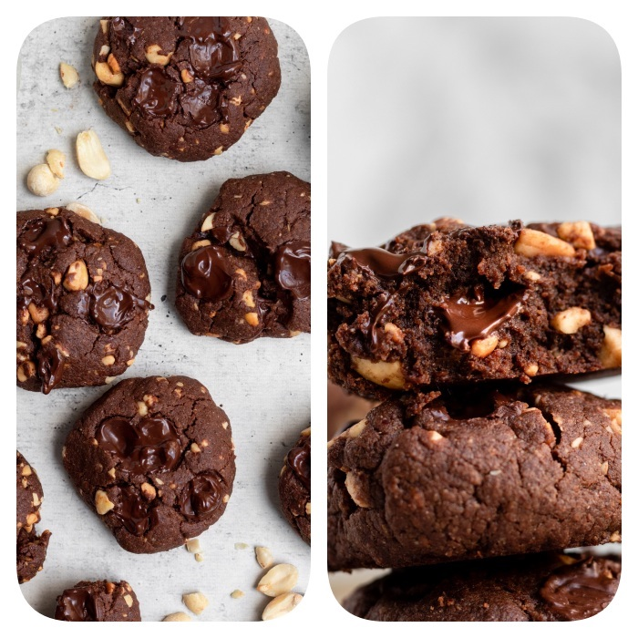 side by side photos, cocoa cookies, with peanuts, melted chocolate, best chocolate chip cookies, white background