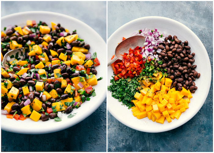 side by side photos, taco meat seasoning, black beans, chopped onion, pepper and tomatoes, in white plate