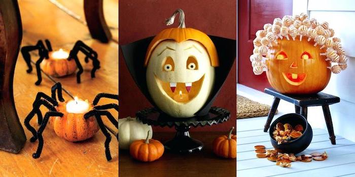 photo collage, three different carving ideas, funny pumpkin carving ideas, side by side photos
