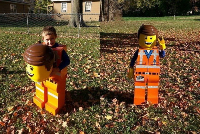side by side photos, toddler girl halloween costume, little boy, dressed as a lego man, falling leaves