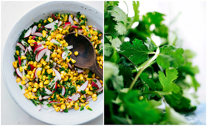 white bowl, filled with corn and turnip, beef taco recipe, bunch of parsley, side by side photo