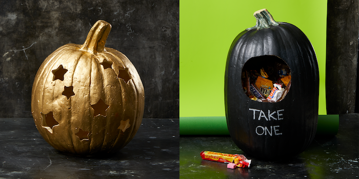 side by side photos, cool pumpkin carvings, painted in black and gold, one filled with candy