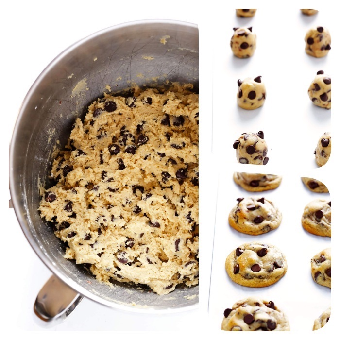side by side photos, chocolate chip cookie recipe, cookie dough, in a pan, arranged in a tray