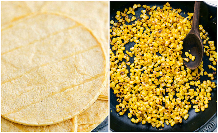 side by side photos, tortilla wraps, baked corn, inside a black pan, wooden spatula, beef taco recipe