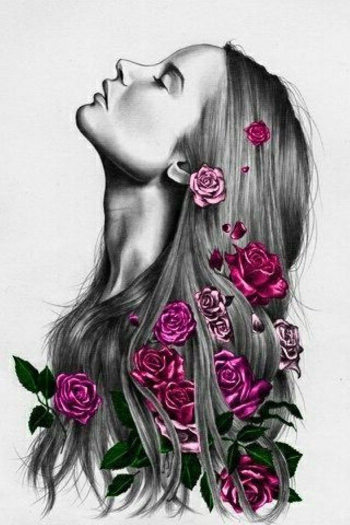 woman with long hair, pink roses, intertwined in it, pencil sketch, white background, pictures of flowers to draw