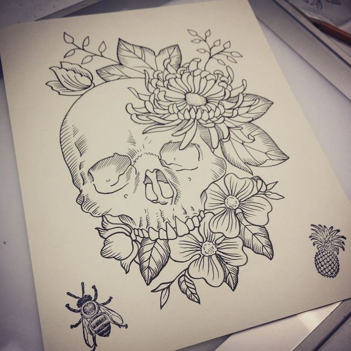 skull surrounded by flowers, pictures of flowers to draw, black pencil sketch, white background