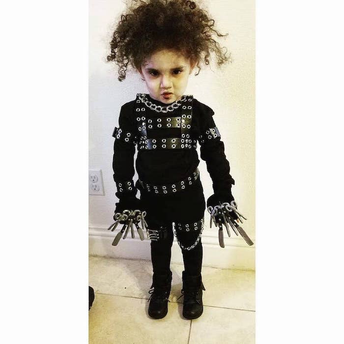 twin halloween costumes, little kid, dressed as edward scissorhands, all black costume, brown curly hair