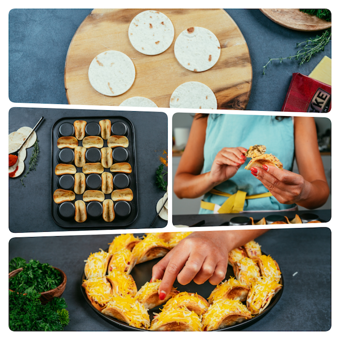 photo collage, taco recipe, tortilla wraps, arranged on a muffins tray, black table