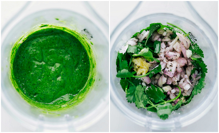 side by side photos, ground beef tacos, parsley and onion, blended together, in a glass bowl