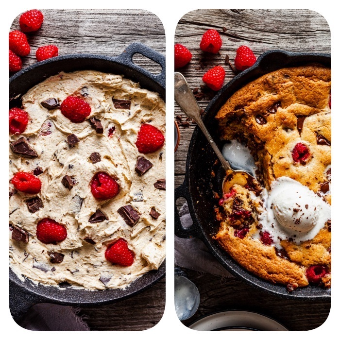 side by side photos, simple chocolate chip cookie recipe, cookie dough, baked in a skillet, with raspberries