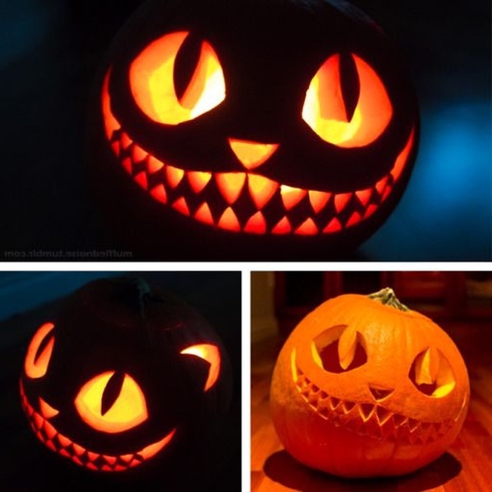 cheshire cat, alice in wonderland inspired, pumpkin carving designs, photo collage, lit by candles