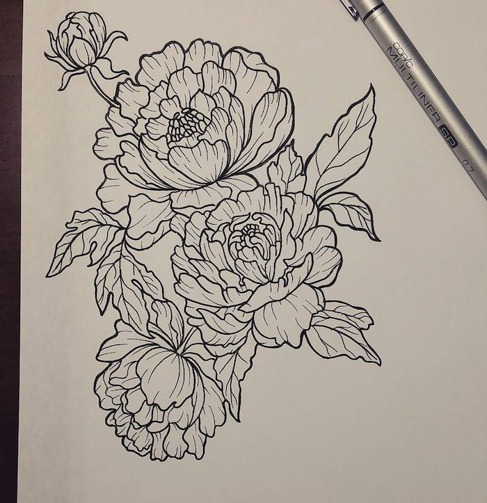 black flowers, pencil sketch, on white background, cool simple drawings