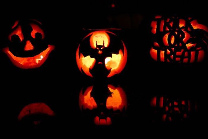 three pumpkins, with different carvings, lit by candles, pumpkin carving designs, black background