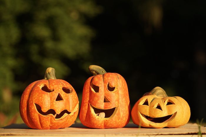 three pumpkins, arranged on a wooden table, cool pumpkin carvings, blurred background