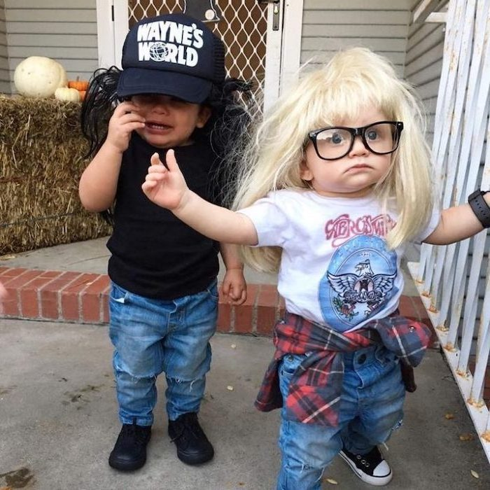 two baby boys, dressed as wayne and garth, wayne's world inspired, childrens halloween costumes, blonde wig
