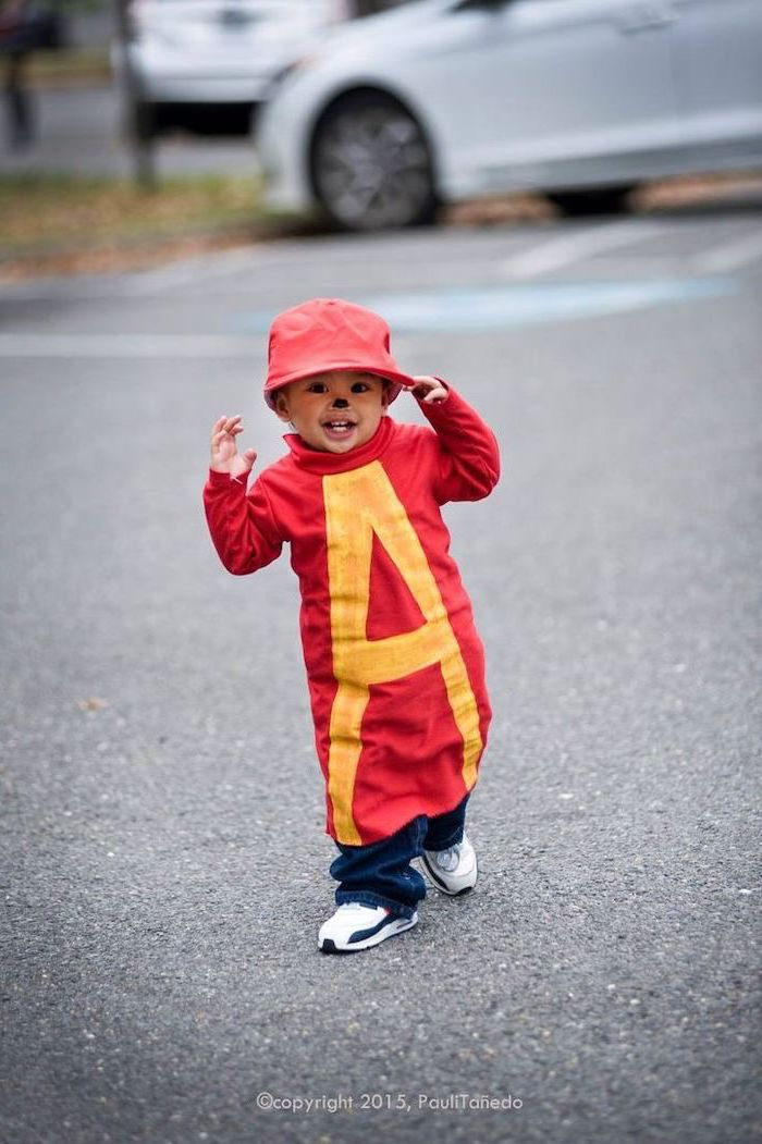 little boy, dressed as alvin, alvin and the chipmunks inspired, childrens halloween costumes, red hat, red shirt