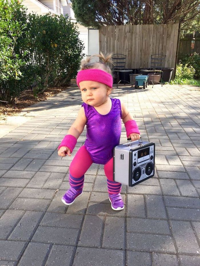 baby girl, dressed as an 80s disco, aerobics instructor, holding a boombox, childrens halloween costumes