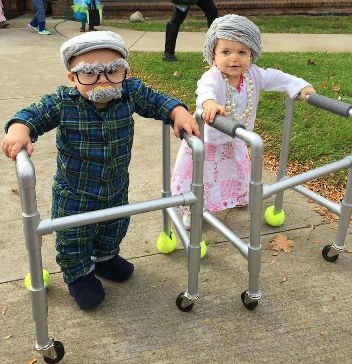 funny halloween costumes for kids, baby boy and girl, dressed as old people, with silver hair and beard