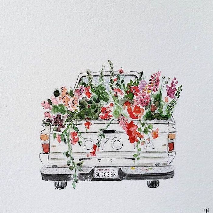 toyota pickup, truck full of flowers, cool simple drawings, watercolor painting, white background