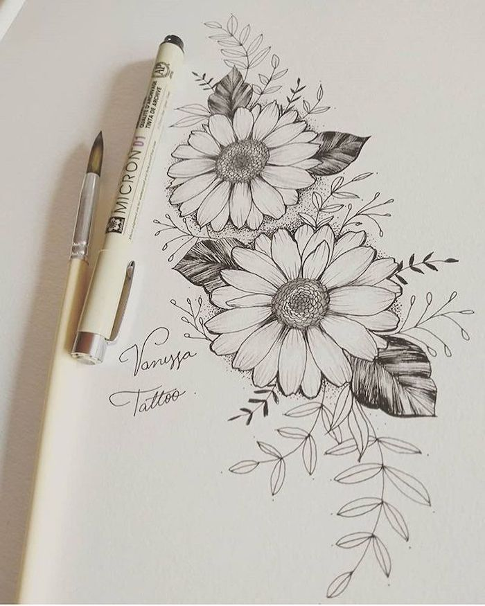 cute flower drawings, two sunflowers, black pencil sketch, on white background