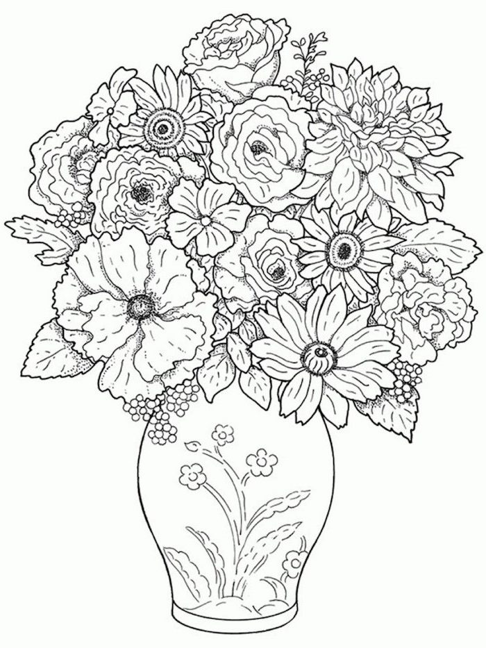 a bunch of flowers, inside a vase, cute flower drawings, black pencil sketch, on white background