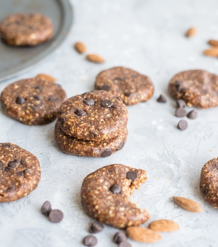 vegan cocoa cookies, with almonds, chocolate chips, best chocolate chip cookie recipe, granite countertop