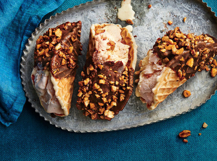 sweet tacos, waffle tacos, filled with ice cream, covered in chocolate, chopped nuts, best ground beef taco recipe